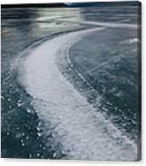Ice Pattern On Frozen Abraham Lake Canvas Print