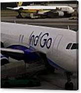 Indigo Aircraft Getting Ready In Changi Airport Canvas Print