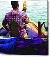 Lady Sleeping While Boatman Steers Canvas Print