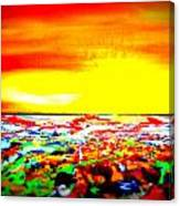 Modern Abstract Painting Original Canvas Art  Sunset By Zee Clark Canvas Print