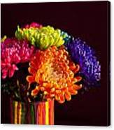 Multicolored Chrysanthemums In Paint Can Canvas Print