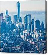 New York City Manhattan Midtown Aerial Panorama View With Skyscr Canvas Print