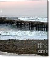 Ocean Wave Storm Pier Canvas Print