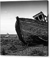 Stunning Black And White Image Of Abandoned Boat On Shingle Beac Canvas Print
