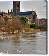 Worcester Cathedral And Swans Canvas Print