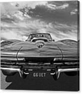66 Vette Stingray In Black And White Canvas Print