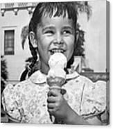 Girl With Ice Cream Cone Canvas Print