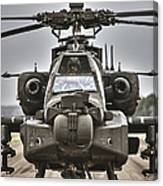 Ah-64 Apache Helicopter On The Runway Canvas Print