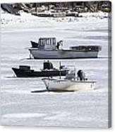 Boat And Ice Hobart Beach Ny Canvas Print