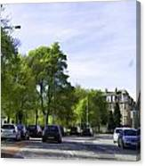 Cars On A Street In Edinburgh Canvas Print
