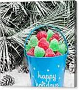 Decorative Pail Of Christmas Candy Canvas Print