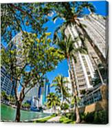 Downtown Miami Brickell Fisheye Canvas Print