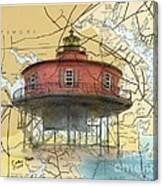 7 Ft Knoll Lighthouse Md Nautical Chart Map Art Cathy Peek Canvas Print