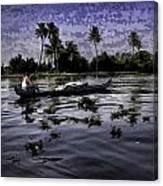 Man Boating On A Salt Water Lagoon Canvas Print