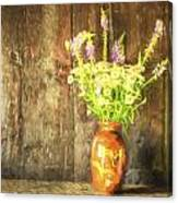 Monet Style Digital Painting Retro Style Still Life Of Dried Flowers In Vase Against Worn Woo Canvas Print
