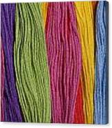 Multicolored Embroidery Thread In Rows Canvas Print