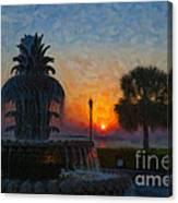 Pineapple Fountain At Dawn Canvas Print