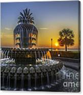 Pineapple Fountain At Sunrise Canvas Print