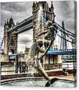 Tower Bridge And The Girl And Dolphin Statue Canvas Print