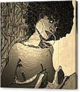 70s Chic Sepia Canvas Print