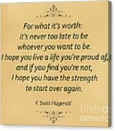 74- F. Scott Fitzgerald Canvas Print