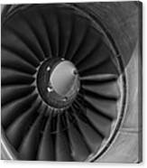 757 Engine Black And White Canvas Print