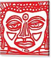 Barbot Buddha Red White Canvas Print