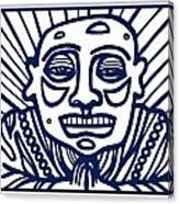 Frisby Buddha Blue White Canvas Print