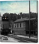 760 Train Engine Passing The Station Sc Textured Canvas Print