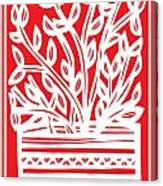 Kimbrell Plant Leaves Red White Canvas Print