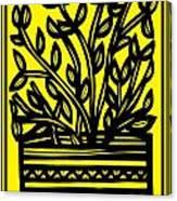 Heidecker Plant Leaves Yellow Black Canvas Print