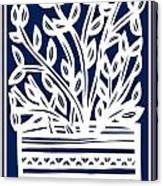 Stearne Plant Leaves Blue White Canvas Print