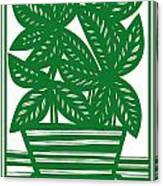 Lagoa Plant Leaves Green White Canvas Print