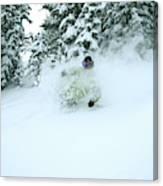 A Man Skiing In Powder Near South Lake Canvas Print