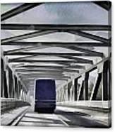 Blue Citylink Bus On A Metal Bridge In Scotland Canvas Print