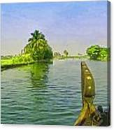 Captain Of The Houseboat Surveying Canal Canvas Print