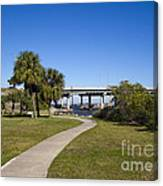 Melbourne Causeway To Indialantic In Central Florida From Geiger Canvas Print