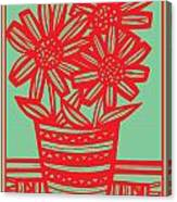 Worship Excelsior Flowers Red Green Blue Canvas Print
