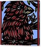 Batra Bird Brown Black Green Blue Canvas Print