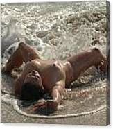 8470 Nude Island Girl Lying In Surf Canvas Print