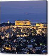 Acropolis Of Athens During Dusk Time Canvas Print