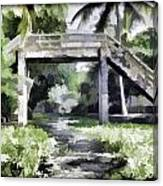 An Old Stone Bridge Over A Canal Canvas Print