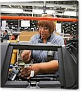 Car Dashboard Assembly Line Canvas Print