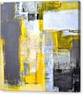 Busy Busy - Grey And Yellow Abstract Art Painting Canvas Print