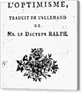 Voltaire Candide Canvas Print