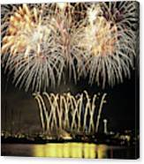 Wa, Seattle, Fireworks On July 4th Canvas Print