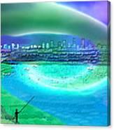 920 - Blue City On The Sea Canvas Print