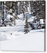 A Backcountry Skier A Turn Near Ymir Canvas Print