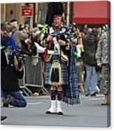 A Bagpiper Posing At The 2009 New York St. Patrick Day Parade Canvas Print