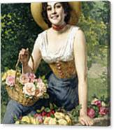 A Beauty Holding A Basket Of Roses Canvas Print